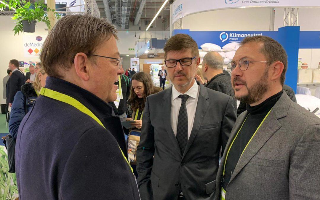 El Presidente de la Generalitat Valenciana D. Ximo Puig, visita nuestro Stand en la Feria HEIMTEXTIL Frankfurt 2020